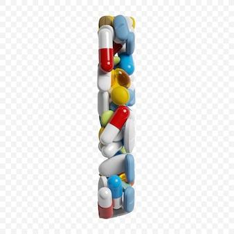 3d-darstellung von farbpillen und tabletten alphabet buchstaben i symbol isoliert