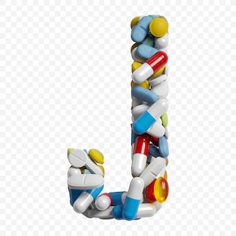 3d-darstellung von farbpillen und tabletten alphabet buchstaben j symbol isoliert auf weißem hintergrund