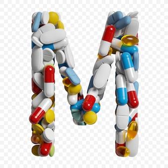 3d-darstellung von farbpillen und tabletten alphabet buchstaben m symbol isoliert