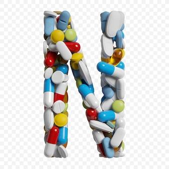 3d-darstellung von farbpillen und tabletten alphabet buchstaben n symbol isoliert