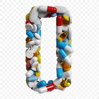 3d-darstellung von farbpillen und tabletten alphabet buchstaben o symbol isoliert