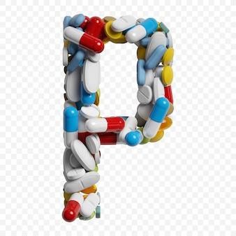 3d-darstellung von farbpillen und tabletten alphabet buchstaben p symbol isoliert auf weißem hintergrund