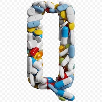 3d-darstellung von farbpillen und tabletten alphabet buchstaben q symbol isoliert auf weißem hintergrund
