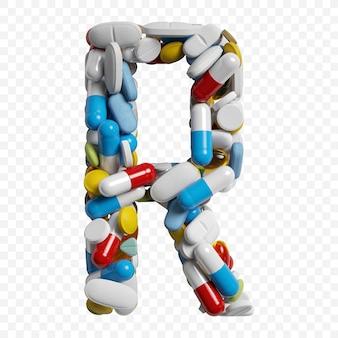 3d-darstellung von farbpillen und tabletten alphabet buchstaben r symbol isoliert