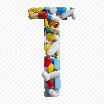 3d-darstellung von farbpillen und tabletten alphabet buchstaben t symbol isoliert auf weißem hintergrund