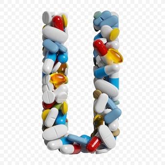 3d-darstellung von farbpillen und tabletten alphabet buchstaben u symbol isoliert