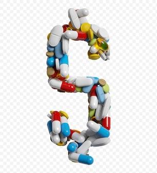 3d-darstellung von farbpillen und tabletten alphabet dollarsymbol isoliert auf weißem hintergrund