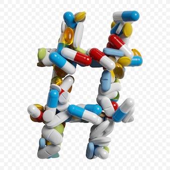3d-darstellung von farbpillen und tabletten alphabet hashtag-symbol isoliert