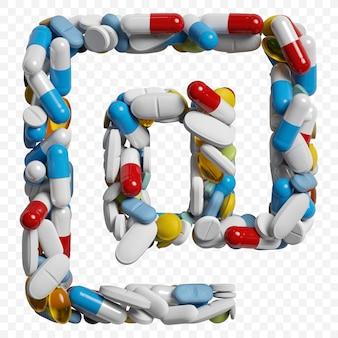 3d-darstellung von farbpillen und tabletten alphabet internetsymbol isoliert