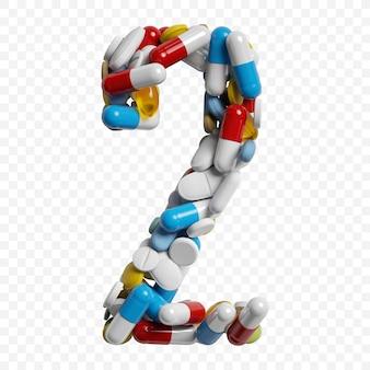 3d-darstellung von farbpillen und tabletten alphabet nummer 2 symbol isoliert