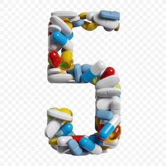 3d-darstellung von farbpillen und tabletten alphabet nummer 5 symbol isoliert auf weißem hintergrund