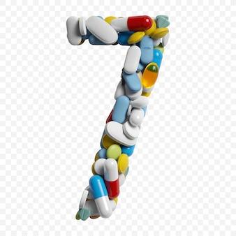 3d-darstellung von farbpillen und tabletten alphabet nummer 7 symbol isoliert auf weißem hintergrund