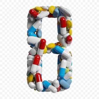 3d-darstellung von farbpillen und tabletten alphabet nummer 8 symbol isoliert auf weißem hintergrund