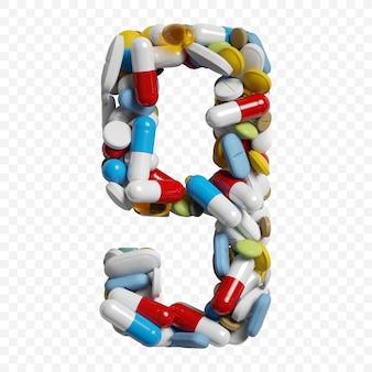 3d-darstellung von farbpillen und tabletten alphabet nummer 9 symbol isoliert