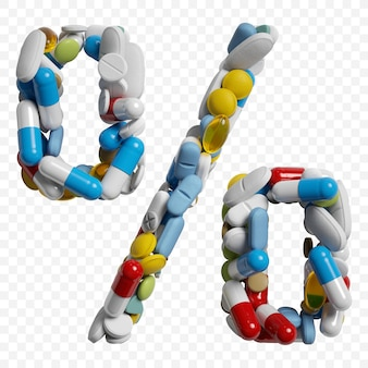 3d-darstellung von farbpillen und tabletten alphabet prozentsymbol isoliert