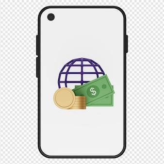 3d-darstellung von geldmünze und globus in smartphone-symbol psd