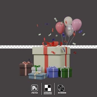 3d-darstellung von geschenkbox bollon und konfetti isoliert