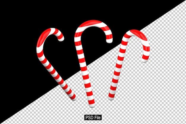 3d-darstellung von glänzenden weißen und roten weihnachtszuckerstangen mit transparentem hintergrund psd-format