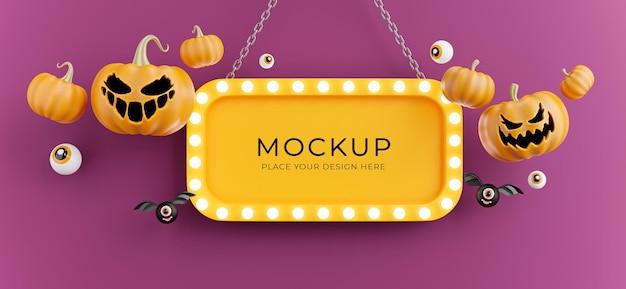 3d-darstellung von halloween-schild mit kürbis, auge, fledermaus, hellem neon für die produktpräsentation