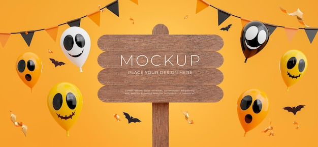 3d-darstellung von holzschild mit fröhlichem halloween-konzept für ihre produktpräsentation