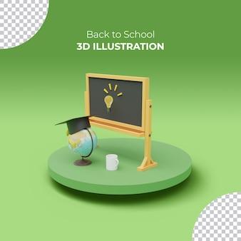 3d-darstellung von kreidetafel mit elearning- und online-bildungskonzept