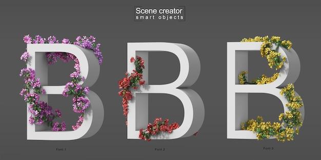 3d-darstellung von kriechendem bougainvillea auf alphabet b.