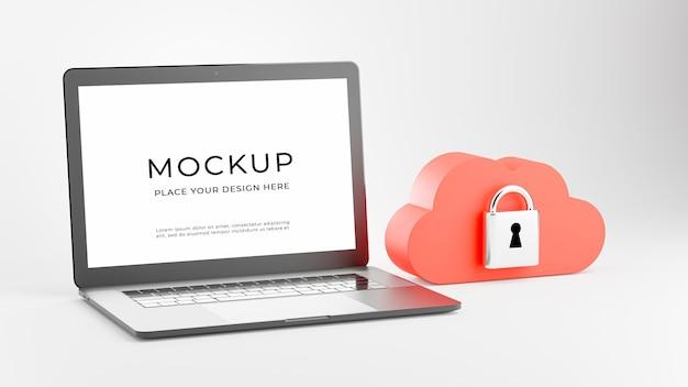 3d-darstellung von laptop mit cloud-speicherkonzept