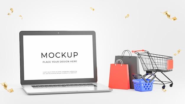 3d-darstellung von laptop mit einkaufskonzept