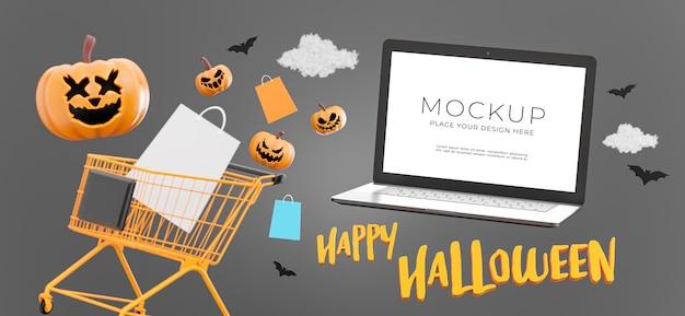 3d-darstellung von laptop mit glücklichem halloween-verkauf, kopienraum für ihre produktpräsentation