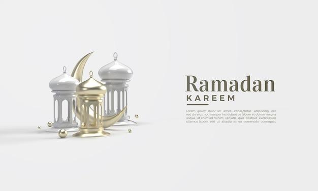 3d-darstellung von ramadan kareem mit goldenem mond und weißen lichtern
