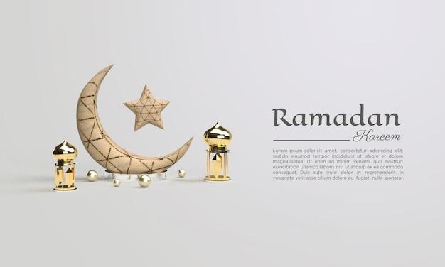 3d-darstellung von ramadan kareem mit mond- und sternillustrationen
