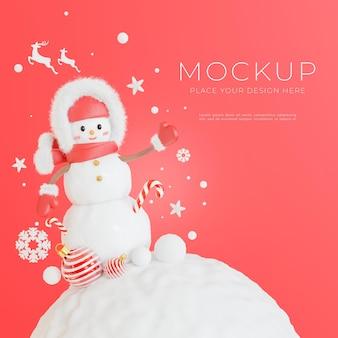 3d-darstellung von schneemann mit frohe weihnachten-konzept für ihre produktpräsentation