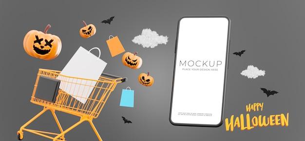 3d-darstellung von smartphone mit glücklichem halloween-verkauf, kopienraum für ihre produktpräsentation