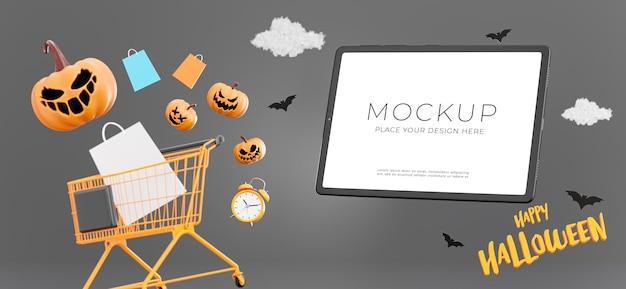 3d-darstellung von tablet mit glücklichem halloween-verkauf, kopienraum für ihre produktpräsentation