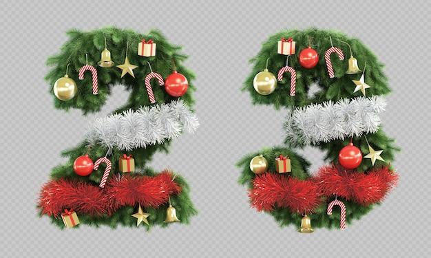 3d-darstellung von weihnachtsbaum nummer 2 und nummer 3