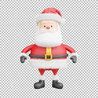 3d-darstellung von weihnachtsmann auf transparentem hintergrund