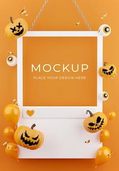 3d-darstellung von weißem rahmen oder sozialer plattform mit halloween-konzept, kürbis, ballons, konfetti für die produktpräsentation