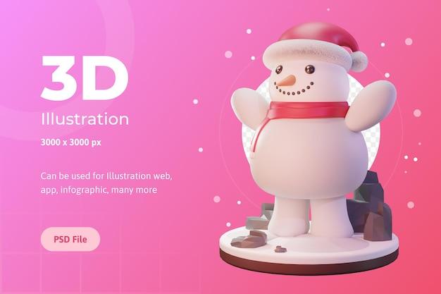 3d-darstellung, weihnachtsobjekt, schneemann mit mütze, für web, app, werbung usw.