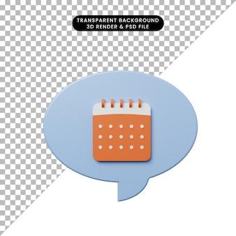 3d-darstellungs-chat-blase mit kalender
