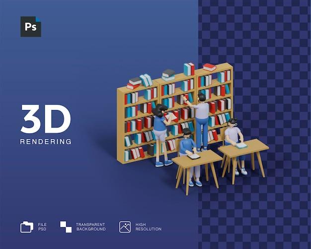 3d das konzept des lernens, bücher in der bibliothek lesen zu lernen