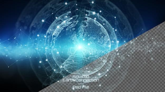3d, das planetenerde mit lokalisierten herausgeschnittenen elementen auf blauem hintergrund überträgt