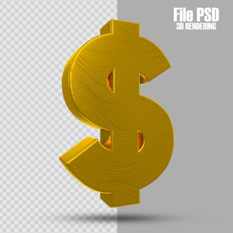 3d-dollar-münzensymbol in 3d-rendering isoliert