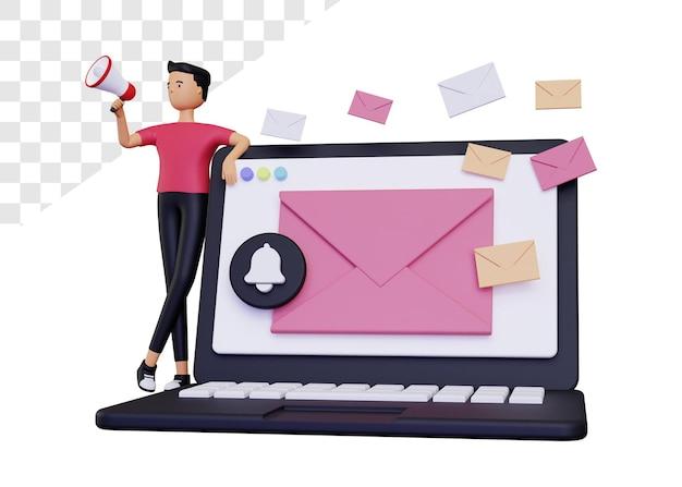 3d-e-mail-kampagne mit laptop und umschlag