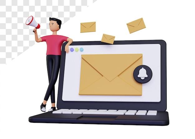 3d-e-mail-kampagne mit laptop