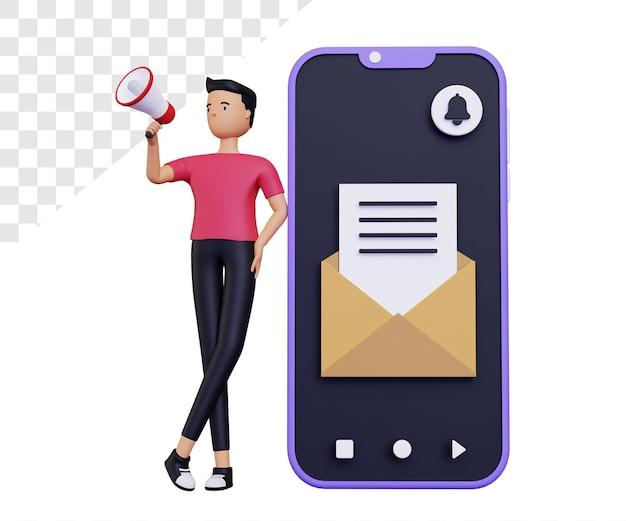 3d-e-mail-kampagne mit männlichem charakter und handy