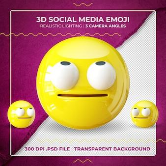 3d-emoji isoliert mit gedrehten augen