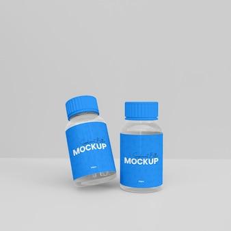 3d-ergänzungsflaschen-mockup aus glas