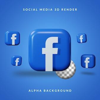 3d facebook-anwendungslogo mit alpha-hintergrund