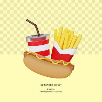 3d-fast-food-illustrationsobjekt gerendert