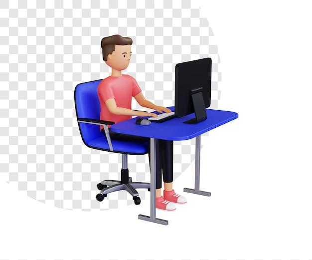 3d-fernarbeit mit desktop-computer